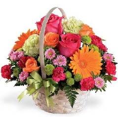 Sepet içerisinde karışık mevsim çiçekleri  Gölbaşı çiçekçi güvenli kaliteli hızlı çiçek