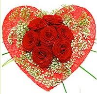Mika kalp içerisinde 7 adet kırmızı gül  Gölbaşı çiçek kaliteli taze ve ucuz çiçekler