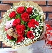 7 adet kırmızı gül 2 adet 10 cm ayı buketi  Ankara çiçekçi Gölbaşı İnternetten çiçek siparişi