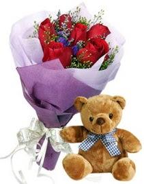 7 adet kırmızı gül 15 cm boyutlarında ayıcık  Gölbaşı çiçek yolla , çiçek gönder , çiçekçi