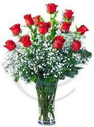 vazo içerisinde 12 adet kırmızı gül  Gölbaşı çiçekçi telefonları