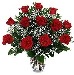 Gölbaşı çiçek kaliteli taze ve ucuz çiçekler  12 adet kırmızı gülden vazo tanzimi