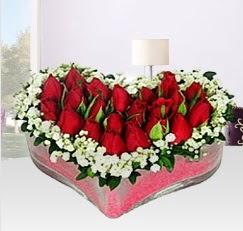 Kalp içerisinde 10 adet kırmızı gül  Gölbaşına çiçek , çiçekçi , çiçekçilik