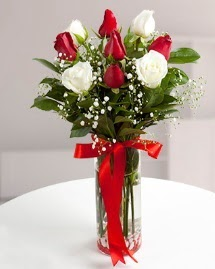 5 kırmızı 4 beyaz gül vazoda  Ankara Gölbaşı çiçek gönderme