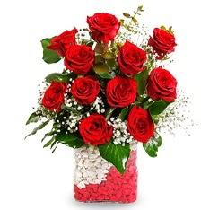 11 adet kırmızı gül vazosu  Gölbaşı Ankara çiçek yolla
