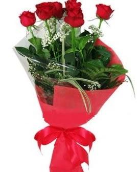 5 adet kırmızı gülden buket  Çiçek yolla Gölbaşı internetten çiçek satışı