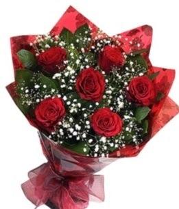 6 adet kırmızı gülden buket  Ankara Gölbaşı internetten çiçek siparişi
