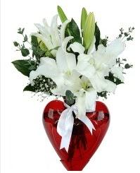 Kalp vazoda 3 kazablanka çiçeği  Ankaradaki çiçekçiler Gölbaşı cicek , cicekci