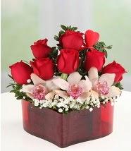 3 kandil orkide 5 kırmızı gül kalp mika  Gölbaşı çiçek siparişi yurtiçi ve yurtdışı çiçek siparişi