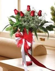 Camda 5 kırmızı gül tanzimi  Gölbaşı anneler günü çiçek yolla
