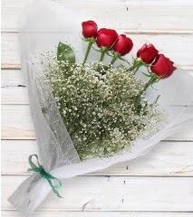 5 kırmızı gülden sade buket  Ankara Gölbaşı çiçekçi uluslararası çiçek gönderme