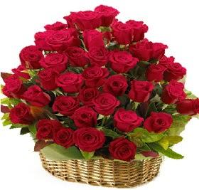 41 adet kırmızı gül sepet içerisinde  Ankara Gölbaşı hediye çiçek yolla