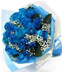 15 adet mavi gülden şahane eşsiz buket  Gölbaşı çiçekçi telefonları