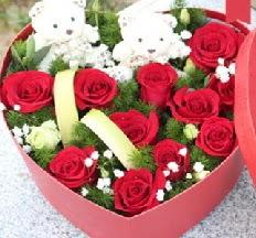2 adet ayıcık 9 kırmızı gül kalp içerisinde  Gölbaşı çiçek siparişi yurtiçi ve yurtdışı çiçek siparişi