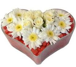 Kalp içerisinde 7 beyaz gül ve papatyalar  Gölbaşı çiçek siparişi yurtiçi ve yurtdışı çiçek siparişi