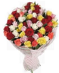 51 adet rengarenk gül buketi  Gölbaşı çiçekçiler  çiçek siparişi sitesi