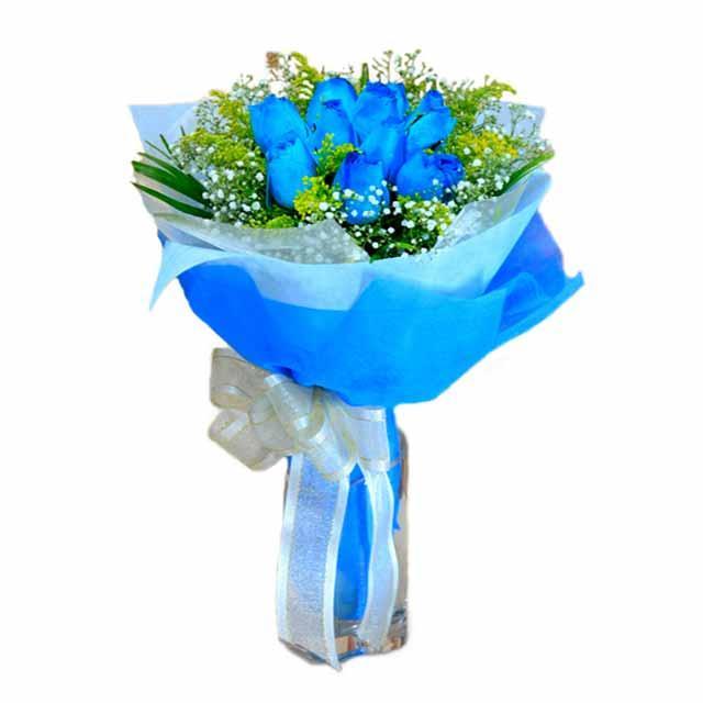 7 adet mavi gül buketi  Gölbaşı çiçek online çiçek siparişi