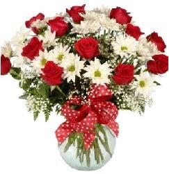12 adet kırmızı gül papatya vazosu süper  Gölbaşı anneler günü çiçek yolla
