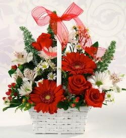 Karışık rengarenk mevsim çiçek sepeti  Gölbaşı çiçek yolla , çiçek gönder , çiçekçi