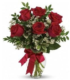Cam vazo içerisinde 6 adet kırmızı gül  Ankara Gölbaşı 14 şubat sevgililer günü çiçek