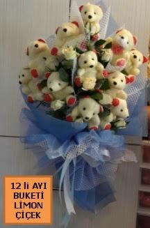 12 Adet ayıcıktan peluş ayı buketi  Ankara Gölbaşı çiçekçi uluslararası çiçek gönderme