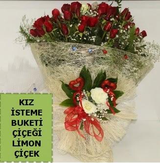 27 adet kırmızı gülden kız isteme buketi  Ankara Gölbaşı hediye sevgilime hediye çiçek
