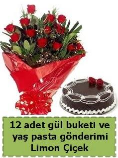 12 adet kırmızı gül buketi ve yaş pasta  Gölbaşı çiçek gönder cicekciler , cicek siparisi