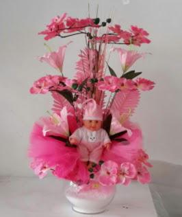 Pembe cam bebekli bebek doğum çiçeği  Ankara Gölbaşı hediye sevgilime hediye çiçek