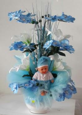 Mavi cam bebekli bebek doğum çiçeği  Ankara Gölbaşı hediye sevgilime hediye çiçek