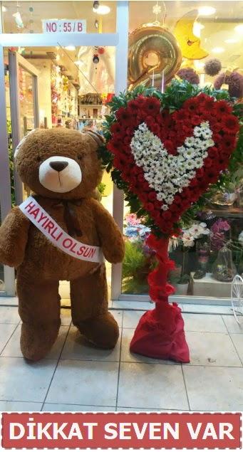 1.5 Metre peluş ayı ve Kalp  Gölbaşı çiçek gönder cicekciler , cicek siparisi