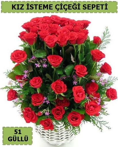 51 ADET KIRMIZI GÜLDEN KIZ İSTEME SEPETİ  Ankara Gölbaşı çiçekçi uluslararası çiçek gönderme