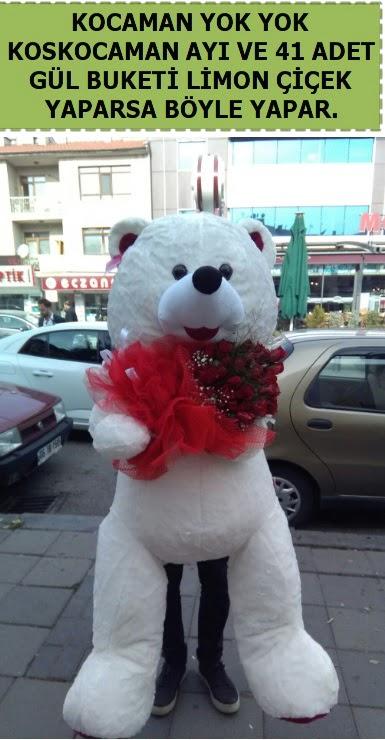 Koskocaman beyaz ayı ve 25 adet gül  Gölbaşı çiçekçi güvenli kaliteli hızlı çiçek