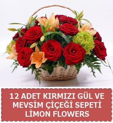 12 gül ve mevsim çiçekleri sepeti  ankara Gölbaşı çiçek mağazası , çiçekçi adresleri