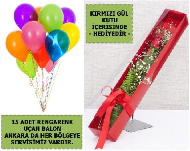 15 Adet uçan balon ve kutuda kırmızı gül  Gölbaşı çiçek online çiçek siparişi