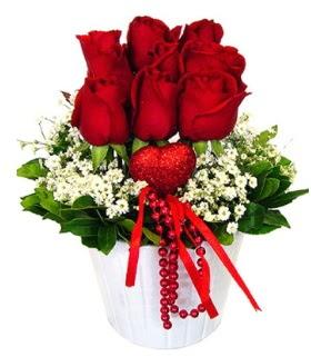 9 kırmızı gül seramik ve kalp çubuk  Ankara Gölbaşı 14 şubat sevgililer günü çiçek