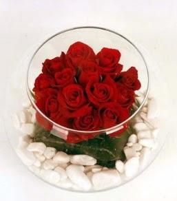 Cam fanusta 11 adet kırmızı gül  Ankara Gölbaşı 14 şubat sevgililer günü çiçek