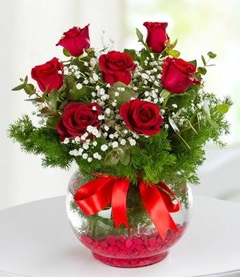 fanus Vazoda 7 Gül  Gölbaşı çiçek online çiçek siparişi