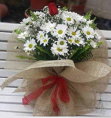 Papatya 1 adet kırmızı gül buketi  Gölbaşı çiçek yolla online çiçekçi , çiçek siparişi