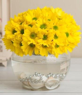 Fanusta Sarı Papatya  Gölbaşı çiçekçi güvenli kaliteli hızlı çiçek