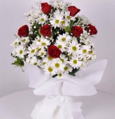 7 adet kırmızı gül ve papatyalar krizantem  Gölbaşı çiçek siparişi yurtiçi ve yurtdışı çiçek siparişi