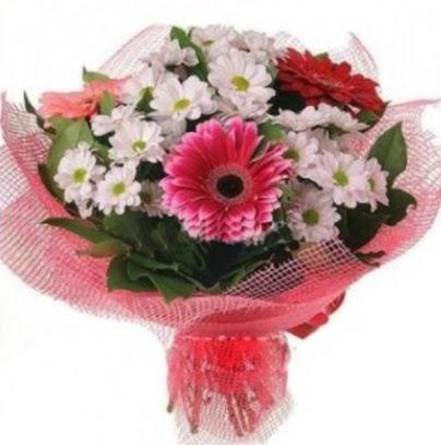 Gerbera ve kır çiçekleri buketi  Gölbaşı çiçek yolla , çiçek gönder , çiçekçi