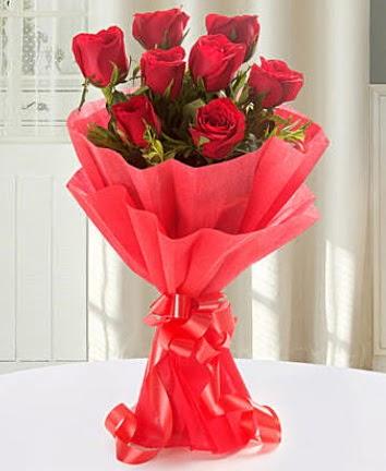 9 adet kırmızı gülden modern buket  Ankaradaki çiçekçiler Gölbaşı cicek , cicekci