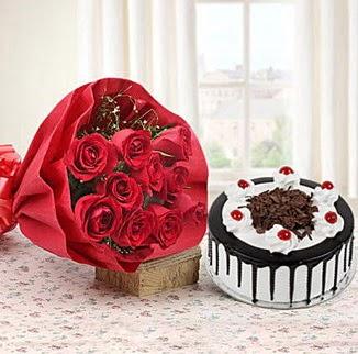 12 adet kırmızı gül 4 kişilik yaş pasta  Gölbaşı çiçek online çiçek siparişi