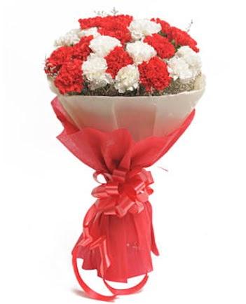 21 adet kırmızı beyaz karanfil buketi  Ankara Gölbaşı hediye sevgilime hediye çiçek