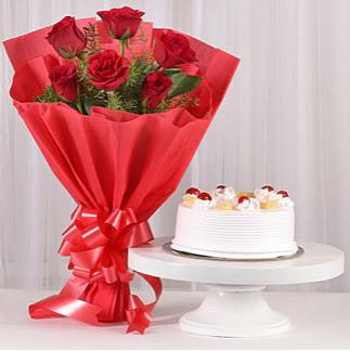 6 Kırmızı gül ve 4 kişilik yaş pasta  Gölbaşı çiçek online çiçek siparişi