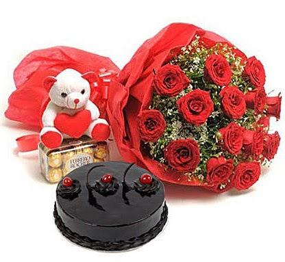 12 kırmızı gül ayıcık çikolata ve yaş pasta  Ankara Gölbaşı 14 şubat sevgililer günü çiçek