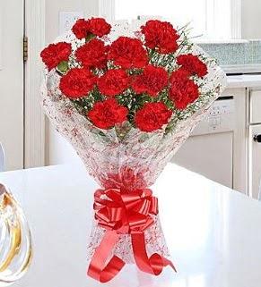 12 adet kırmızı karanfil buketi  Ankaradaki çiçekçiler Gölbaşı cicek , cicekci