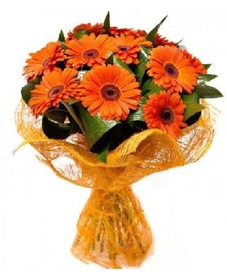 11 adet turuncu gerbera buketi  Gölbaşı çiçek yolla online çiçekçi , çiçek siparişi