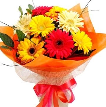 9 adet karışık gerbera buketi  Gölbaşı çiçek online çiçek siparişi