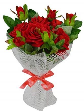 9 adet kırmızı gülden sade şık buket  Gölbaşı anneler günü çiçek yolla